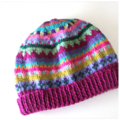 Funky Deep Pink Beanie - to fit approx 1-2 years- hand knitted