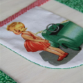 Bunting Dick and Jane fabric flags; vintage green and red gingham; 2.7m long