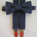 Bow tie and suspender set - braces, denim, formal, party