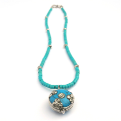 Nepal Blue Resin Pendant Necklace