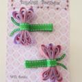Pair of dragonfly ribbon hair clips