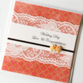 wedding card lace peach roses handmade
