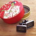 Typewriter-key cufflinks in vintage tin - 'SHIFT FREEDOM' key set