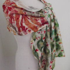SALE lightweight soft cobweb felted scarf merino and silk