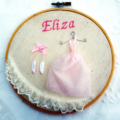Personalized Embroidery Hoop Art ~ Ballerina. Bedroom decoration, girl gift.