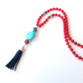 Tassel Red Jade and Turquoise long statement Necklace