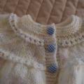 Size 0-6 months hand knitted cardigan/jacket in Lemons: Unisex, washable