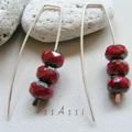 Argentium Sterling Silver range - rich red Czech glass bead earrings