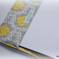 A5 NOTEBOOK JOURNAL -  grey yellow damask