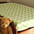 Green & White Chevron stripes Baby Change Table Cover, Baby Shower Gift
