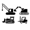 Set of 4 Construction Vehicles Wall Decal Sticker