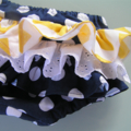 Ruffle Bloomers - navy, spots, newborn, gift