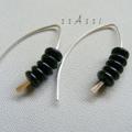 Argentium Sterling Silver range - glossy black Czech bead earrings