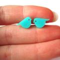 Mint Bird Acrylic Laser Cut Post Earrings