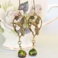 Hummingbird Earrings, swarovski crystal