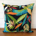 Outdoor Cushion Cover - Parrots in black