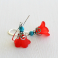 Red Flower and Turquoise Bead Earrings