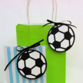 Soccer Ball Gift Tags Round football. Favour tags. Sports party, baby shower.