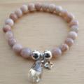 Sunstone Semi Precious Gemstone and Swarovski Crystal Stretch  Bracelet