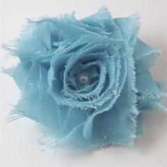 Blue Shabby Chiffon Flower hair clip.