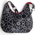 Hobo Bag Purse in Black and White Bubbles Design for Ladies