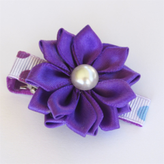 Bright Purple Satin Flower on a fun purple and blue polka dot hair clip