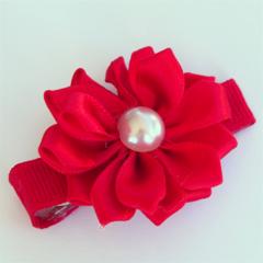 Ruby red satin flower hair clip