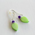 Purple & Green Teardrop Earrings