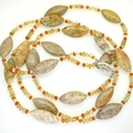 Citrine, carnelian, coral and pearl flapper necklace