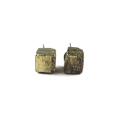 CLOSING DOWN SALE  Pyrite Gold Raw Crystal Gemstone Cube Stud Post Earrings