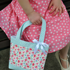 Mini Tote Bag - Girls Bag - Mint Spot / Pink Floral