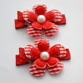 Red Flower Hair Clip Pair