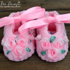Hand Embroidered Pastel Pink Baby Booties with Pink Roses