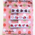 Set of 3 ladybug ribbon-covered hair clips