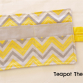 Yellow Chevron Tea Wallet with Grey feature pocket - Holds 4 Teas