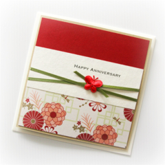 Anniversary card red orientals floral Wife Husband
