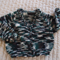 Size 2 - 3  yrs Hand knitted multi coloured cardigan : washable, warm, OOAK