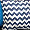 navy cushion cover - chevrons and spots