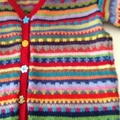 Funky red  Cardigan - Size 5-6 years - Hand knitted