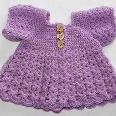 Crocheted Bella Rebekah Cardigan. Purple or Mint. Size 0-3months.