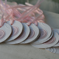 12 Pink Button Gift Tags Baby Shower Tags Party Favour Gift Tags Easter Tags