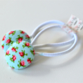 Fabric Button Hair Tie Ponytail Elastic
