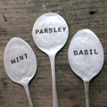 3 VINTAGE HAND STAMPED SILVER SPOON HERB PLANT MARKERS - QUIRKY GARDEN GIFT