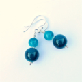 Teal Chalcedony and Sterling Silver Earrings