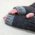 toddler fingerless gloves - charcoal grey / Australian alpaca / 1-3 years