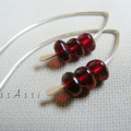 Argentium Sterling Silver range - deep garnet red Czech glass nugget earrings