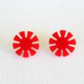 Retro Red Flower Earring Studs
