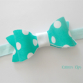 Teal dot felt bow stretch headband