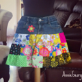 Women's Mini Skirt Upcycled Vintage Denim and Patchwork Size S - Ready Made