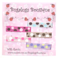 Set of 5 coloured spots ribbon-covered hair clips